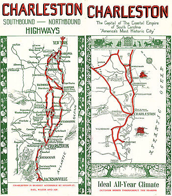 Charleston SC Vintage Travel Brochure Keyed Visitors Guide Map Photos 1940's
