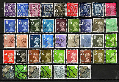 GB Collection of 42 Northern Ireland Regional stamps all diff -  used - Cat £33+
