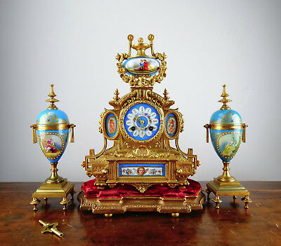Antique Victorian French Sevres Porcelain Mantel Clock Garniture by Japy Freres