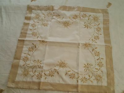 """Poinsettia reversible gold embroidered tablecloth 33"""" sq tasseled corners new"""