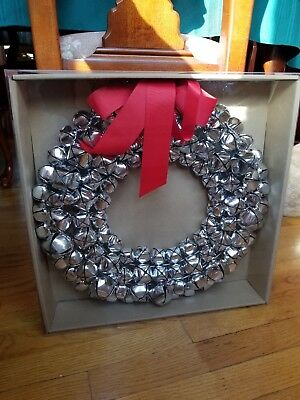 """Williams Sonoma Silver Jingle Bell Door Wreath 16"""" SET OF ONE!"""