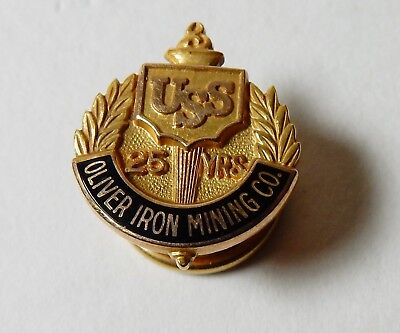 Uss United States Steel Oimco Oliver Iron Mining Co 10K Gold 25 Year Service Pin