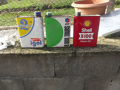 3 anciens bidons elf,igol,shell ,deco garage vintage