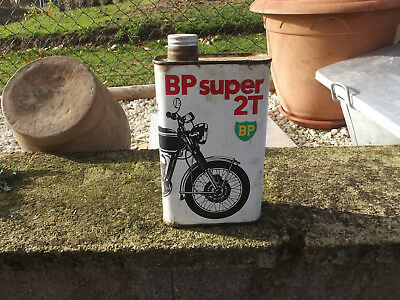 ancien bidon bp super 2 temps moto ,deco garage vintage