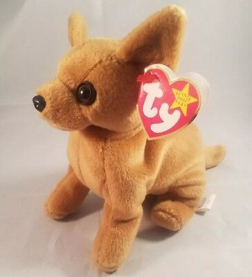 Tiny the Chihuahua Ty Beanie Baby, Rare with ERRORS NEW with Tags
