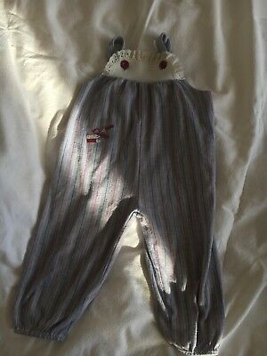 Vintage 80's Baby Girl Pinstrip Dungarees Broiderie 'Ciao' 6-12 Months
