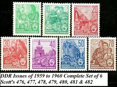 Germany DDR 1955 Redrawn Type Complete Set MNH Scott's 227 227B 228 229 230 230A