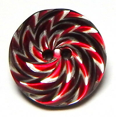 Rare Lea Stein Rhodoid Button - Amazing Ruby Red Satin & Icy White Swirled