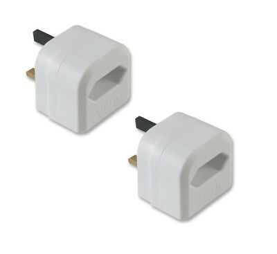2x Pack UK Battery Charger Adaptor 3A Plug for Shaver & Oral-B Toothbrush White