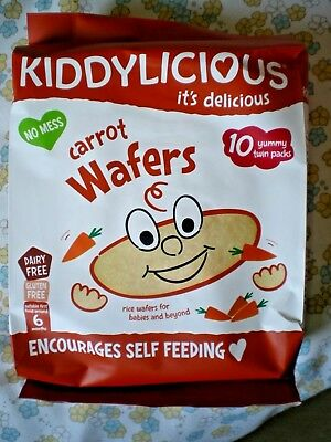 Brand New 'Kiddylicious - Carrot Wafers' 10 x 4 g Twin Packs