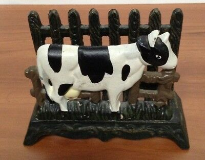 Vintage Cast Iron Cow Towel Napkin Holder Farmhouse Letter Organizer