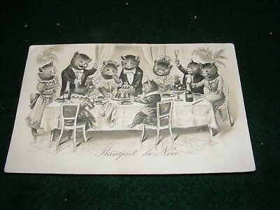 Vintage Postcard Art French Cats Animals Anthropomorphic Banquet Dinner Litho