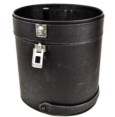 Rare - Black Oval Shaped Faux Leather Hat Box / Wig Case with Handle & Latches