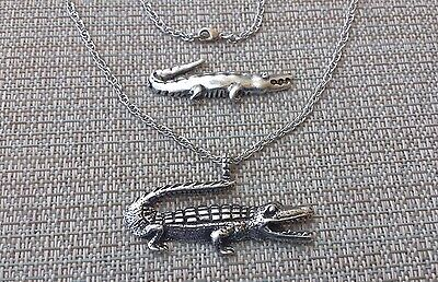 2 Piece Pewter Alligator 1 Pendant and 1 Pin Set 100% Lead & Nickel Free ALL NEW