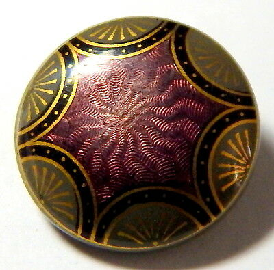 Antique Amethyst Celluloid Tight Top Button - Rare Faux Guilloche Enameling