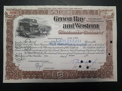Green Bay and Western Railroad Company (Wisconsin) stock certificate 1953