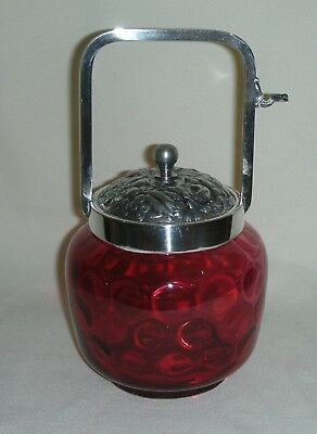 Cranberry Glass PICKLE CASTOR w/ Fantastic LID
