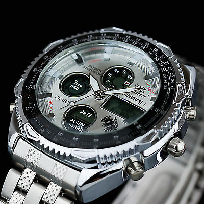 INFANTRY Mens Chronograph Alarm Stainless Steel Digital Quartz Wrist Watch Sport