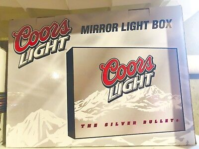 * BRAND NEW * Coors Light - The Silver Bullet Beer - Mirror Light Box Sign
