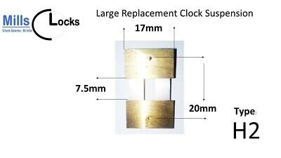 Large Brass Clock Pendulum Suspension Spring. (20mm x 7.5mm x 17mm) (Type H2)
