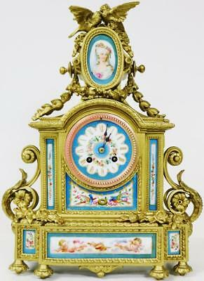 Antique French 8 Day Gilt Metal & Blue Sevres Porcelain Japy Freres Mantle Clock
