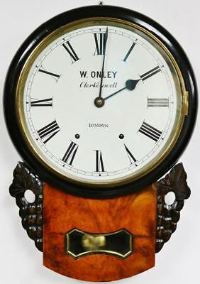 "Antique English 8 Day Gong Striking Burr Walnut 12"" Dial Drop Dial Wall Clock"