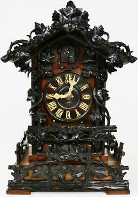 Rare Early Antique Black Forest Heavily Carved 8 Day Beha Cuckoo Bracket Clock