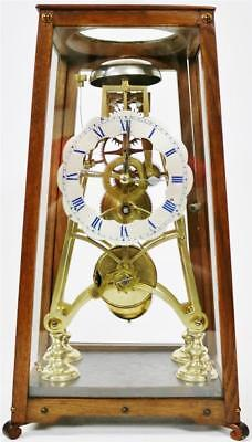 Rare Antique English 8 Day Single Fusee Striking Skeleton Clock In Glass Case