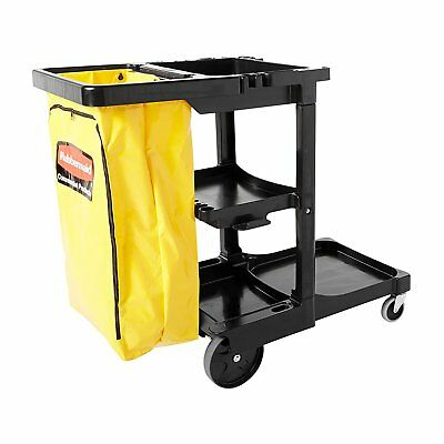 Rubbermaid Commercial Janitor Rolling 3 Shelf Cart Zippered Yellow Vinyl Bag