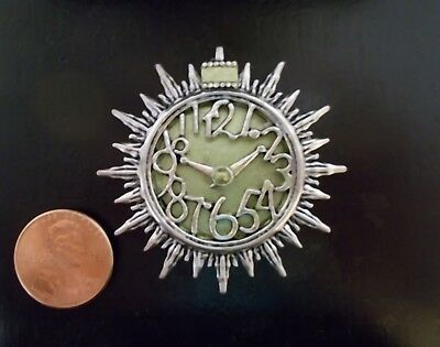 New! OOAK Mid-Century Modern Sun Burst Wall Clock Dollhouse Miniature Hand Made