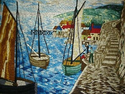 Vintage Hand Embroidered Unframed Linen Picture Boats In The Harbour