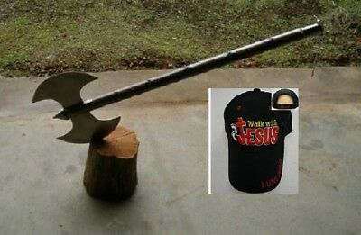 "30"" Medieval Double Edge Battle / Executioners Axe +Free Jesus Cap,free Shipping"