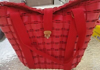 Lot Of Three 3 Vintage Purses Red Straw 40's Walborg Wood Bead Needlepoint Straw