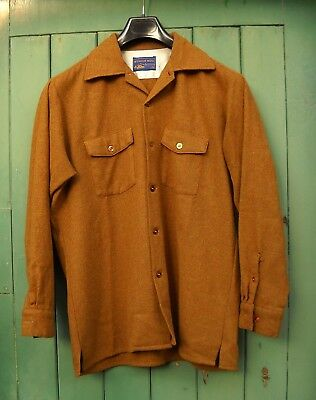 Vintage 1960s GINGER BROWN WOOL SHIRT by ARROW * Large 16-16 ½ collar (US 1950s)