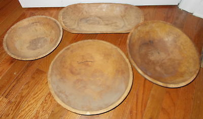 4 Vintage Wood Bowls-All Aged-2 Round,1 Oblong-Various Sizes-Collection, Display