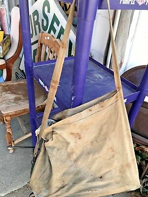 Antique Seed Sower Spreader Farm Tool Hand Crank Bag Seeder Old