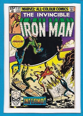 """Invincible Iron Man #137_August 1980_Very Good_""""inferno""""_Bronze Age Marvel Uk!"""