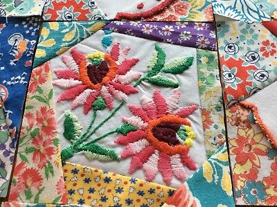 """12 30-40s VtG CRAZY QUILT BLOCKS ~5"""" Pieced Embroidered Squares TROPICAL FLORALS"""