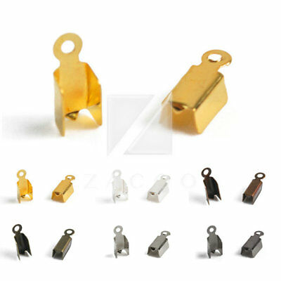 20g Iron Folding End Tips Cord Craft Jewellery Findings Wholesale Lots 3 Size