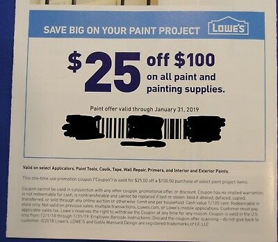 Lowe's $25 off $100 all paint and painting supplies
