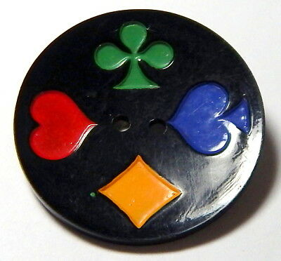 "1 3/8"" VINTAGE 1940'S BLACK CELLULOID WAFER BUTTON w/CLOVER-HEART-DIAMOND+SPADE"