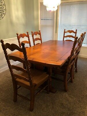 Link Taylor Vintage Table and 6 Rush Seat Chairs Farmhouse Style
