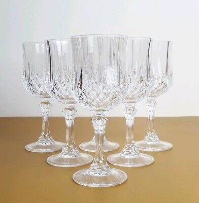 6 x Vintage Crystal Clear Cut Glass Port Glasses Set Christmas Table Gift