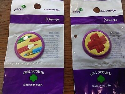 Girl Scouts juniors Drawing and First Aid  Badges~ LOT OF 2 **NEW**