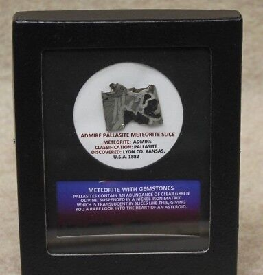 Admire Pallasite Meteorite Slice With Identification Card  In Display Frame