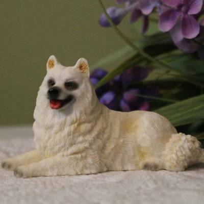 Samoyed Dog Figurine 4 inch Statue Resin Laying Down