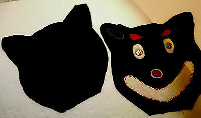 """Cat Face Pillow 2 Pieces Black Felt One With Cat Face Needs Finishing 11"""" x 12"""""""