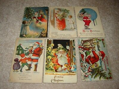 LOT B VINTAGE SANTA CLAUS CHRISTMAS POSTCARDS large lot of 25