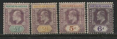 Northern Nigeria KEVII 1906 1/2d, 2d, 5d, and 6d on chalky paper mint o.g.