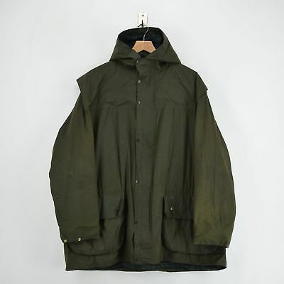Vintage Barbour A5 Durham Green Hooded Wax Jacket Coat Made In UK L / XL